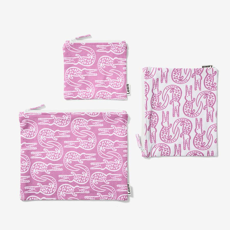 Zip Pouch Set - Alligator | Lilac Pouch Set Lewis