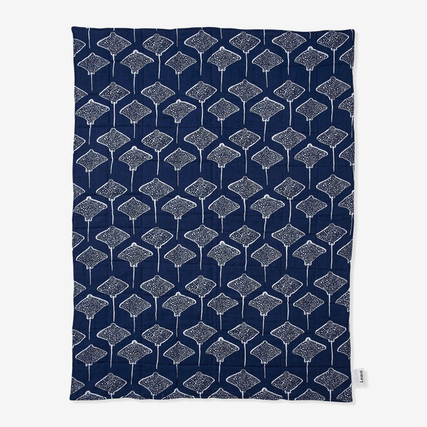 Quilted Muslin Blanket - Stingray | Denim Quilted Baby Blanket Lewis