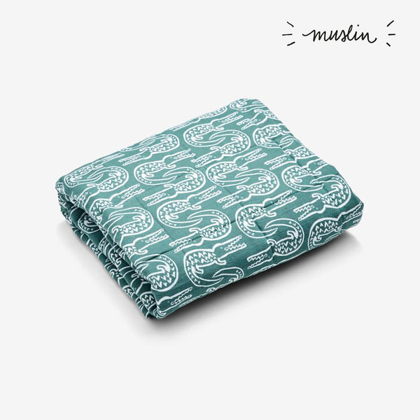 Quilted Muslin Baby Blanket - Alligator | Spruce Quilted Baby Blanket Lewis