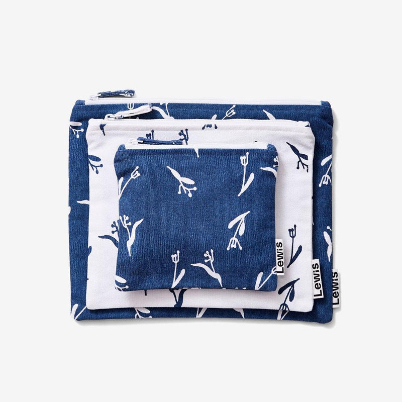 Zip Pouch Set - Pods | Denim Pouch Set Lewis
