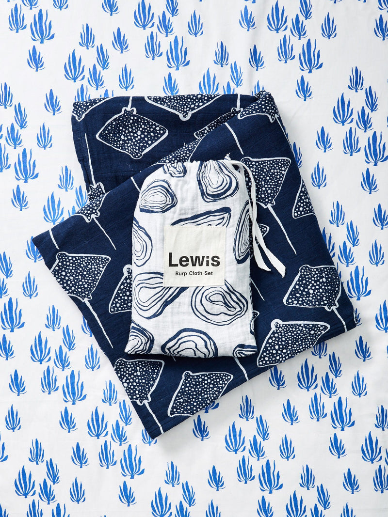 Burp Cloth Set - Oyster | Denim Burp Cloths Lewis