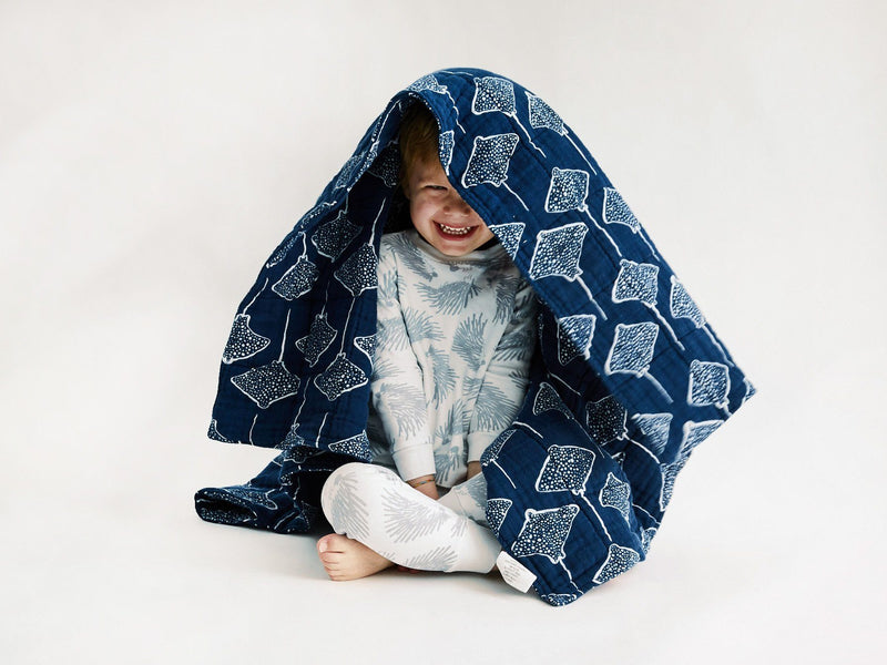 Quilted Baby Blanket - Stingray | Denim Quilted Baby Blanket Lewis