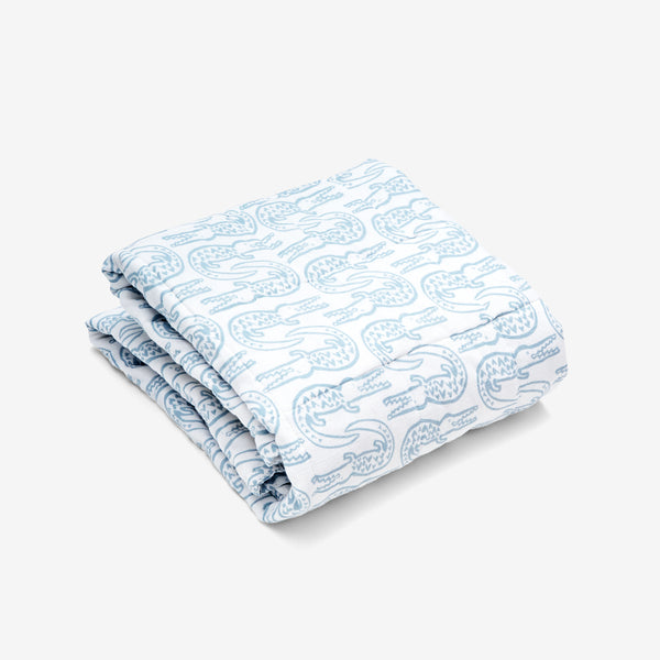 Quilted Baby Blanket - Alligator | Bay Blue