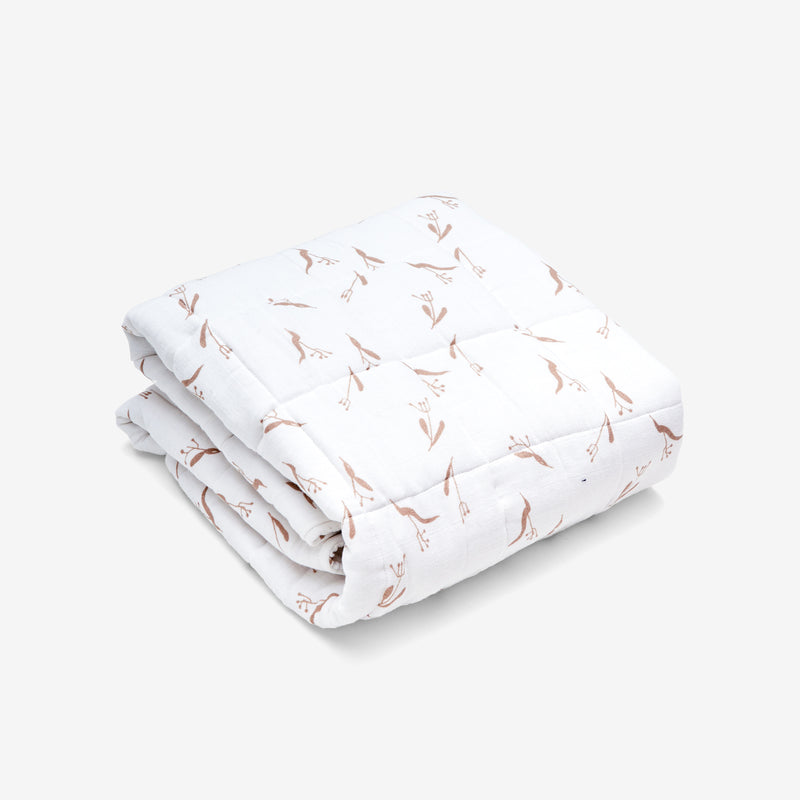 Quilted Baby Blanket - Pods | Wheat