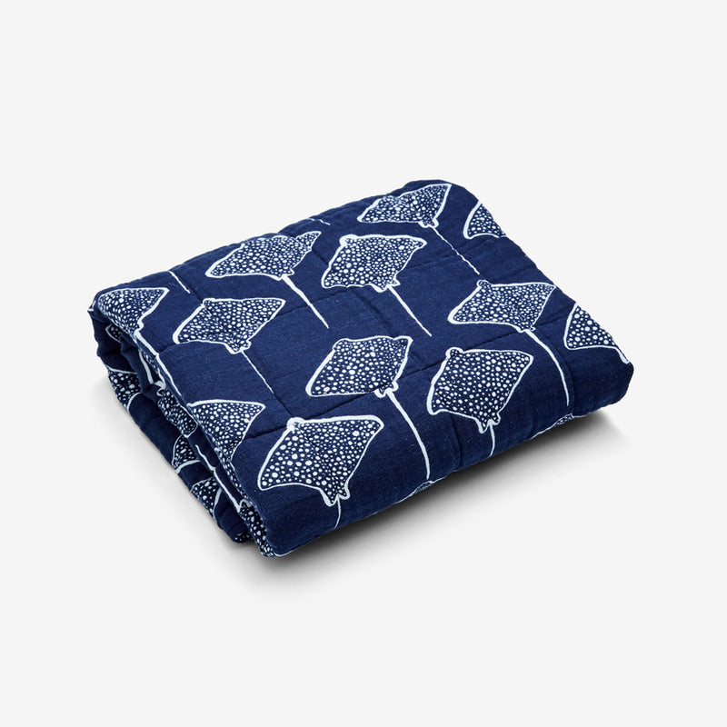Quilted Baby Blanket - Stingray | Denim