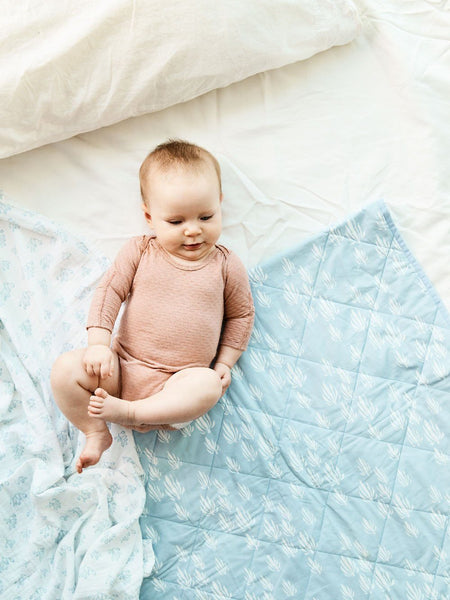 Swaddle - Rose Hip | Bay Blue