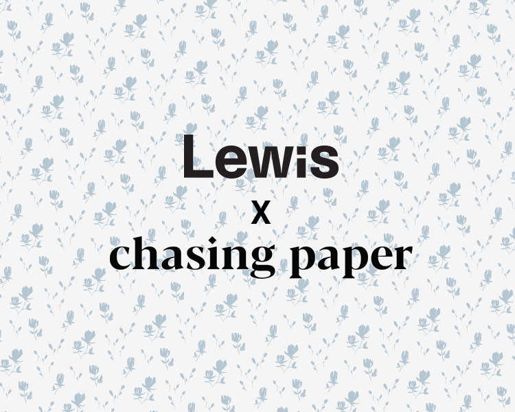 Lewis collaboration with Chasing Paper peel and stick and traditional wallpaper