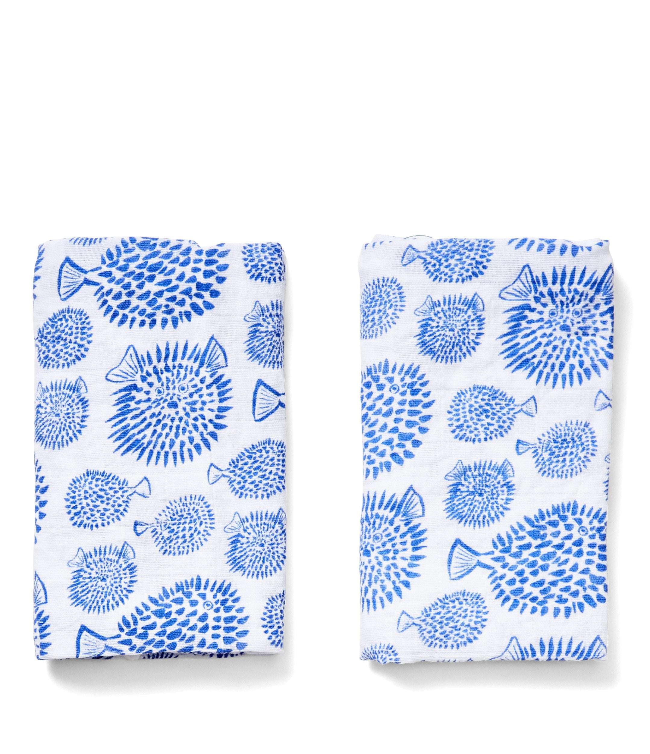 organic cotton burp cloth set blowfish print