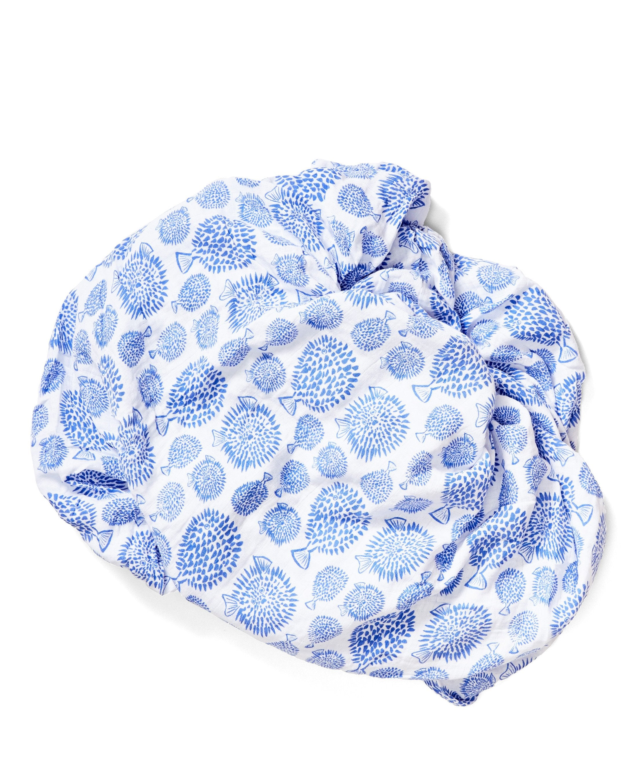organic cotton crib sheet blowfish