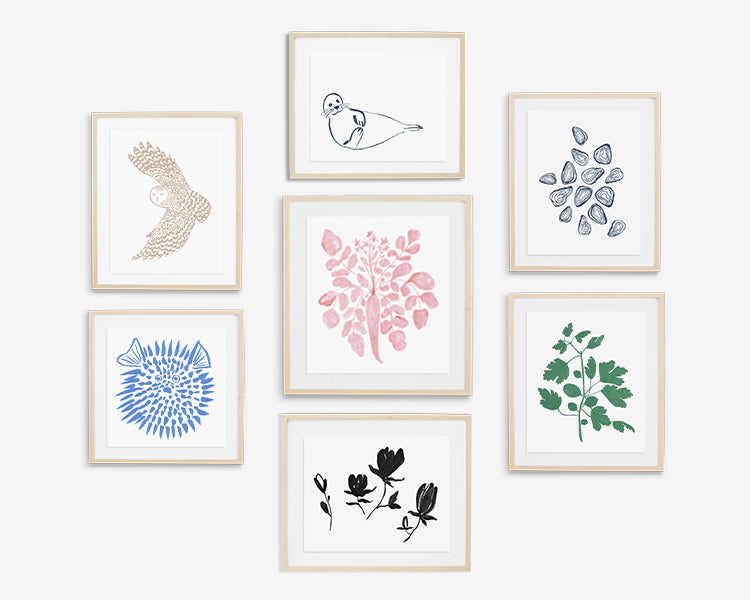 Our patterns start with brush + ink.  We selected a few of these original ink drawings that  translate beautifully to high-quality prints for your walls. Available as print only or have it custom framed!