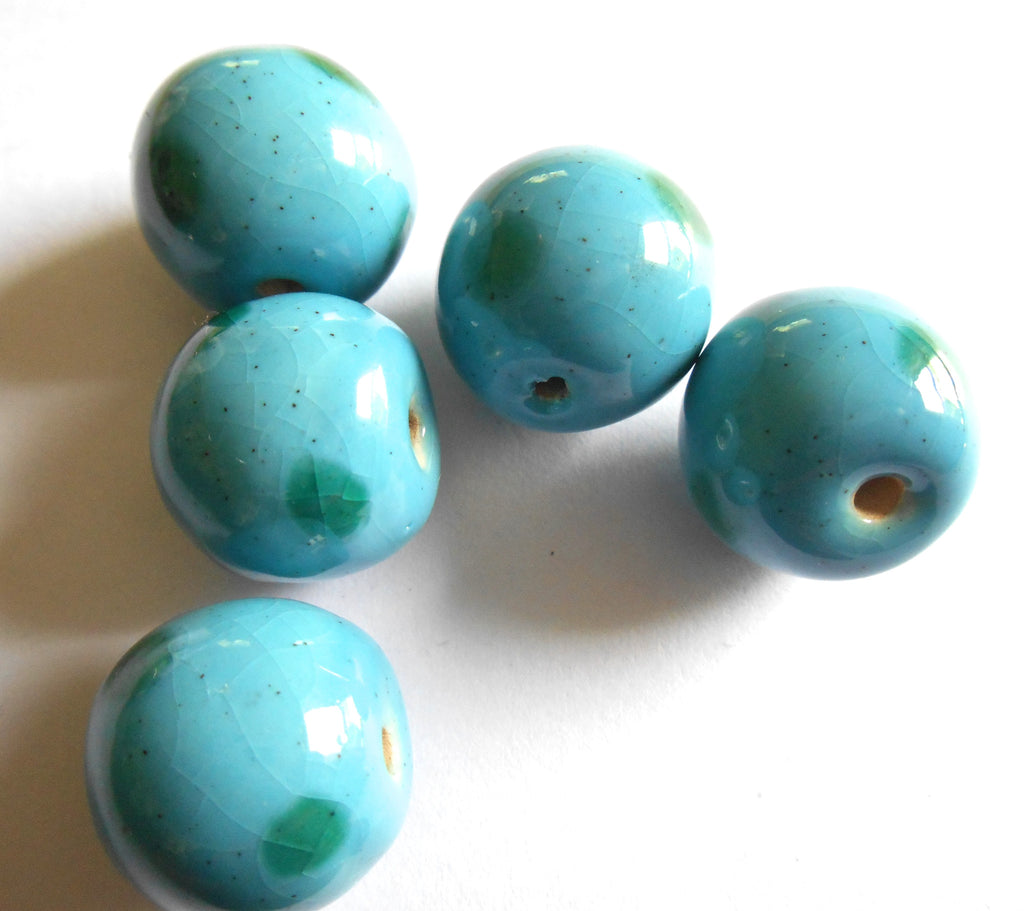 15mm - 17mm Round: Sky with Festive Green Dots