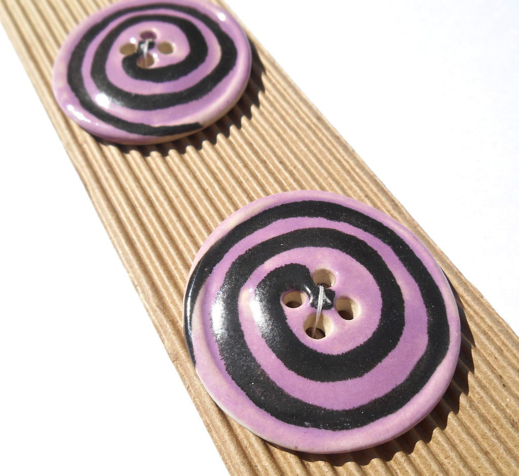 Purple Round with Black Spiral Design