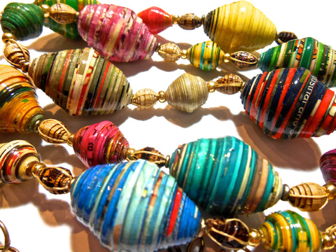 Recycled Paper Beads: Bicone Omo