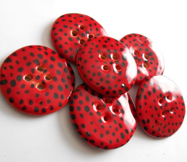 Button: Mini Dots - Red and Black