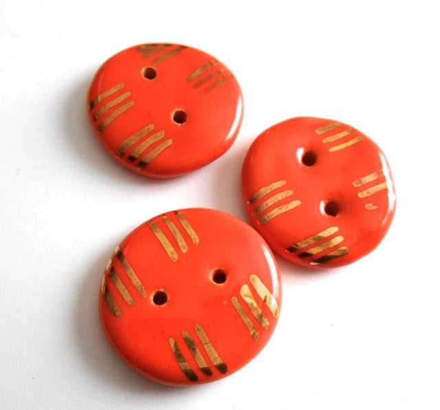 Button: Line Design - Orange with 14kt Gold