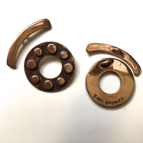 Bronze Toggle Clasp - Dots