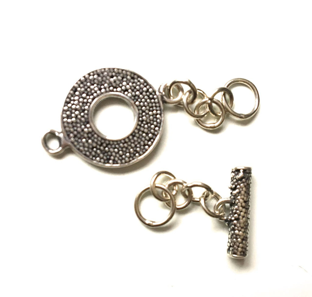 Sterling Silver Mini Round Textured Toggle Clasp