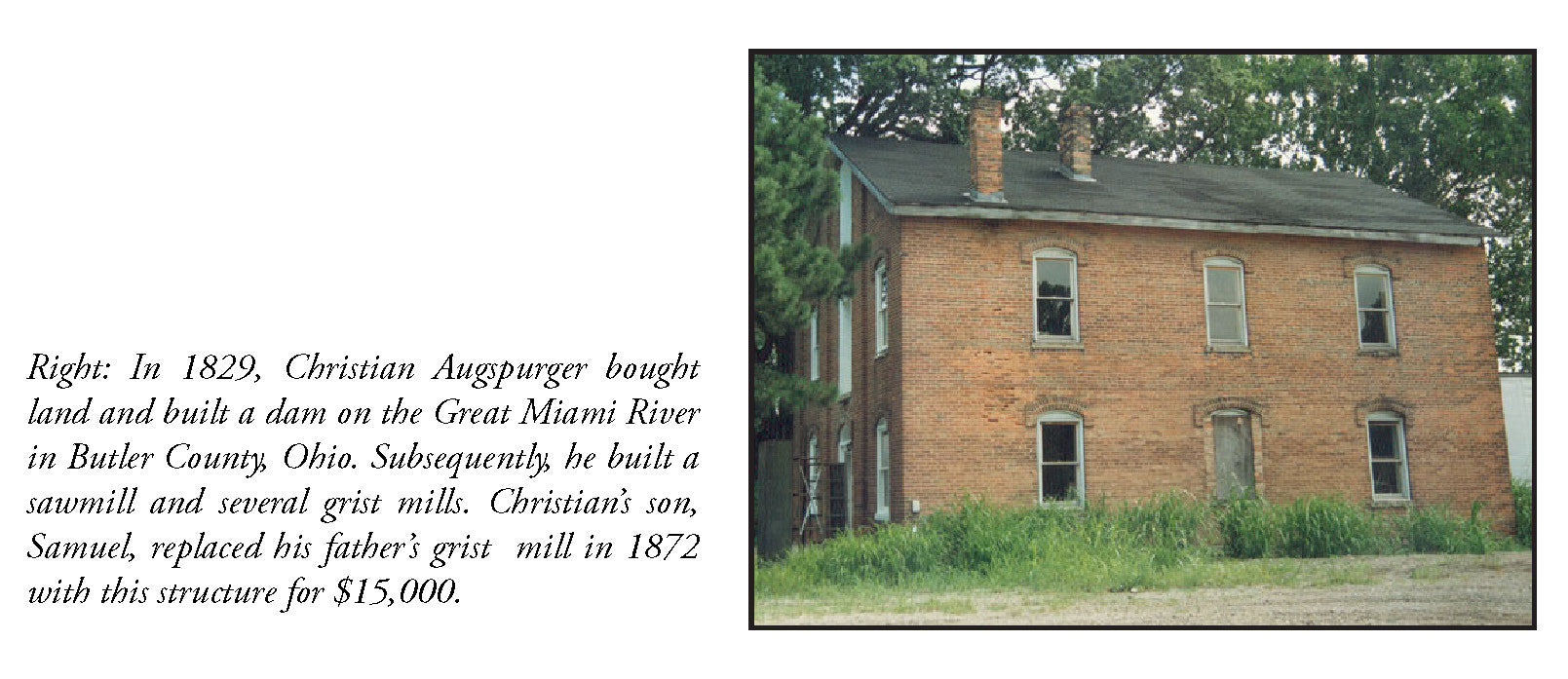 christian augspurger miami river mill grist butler ohio