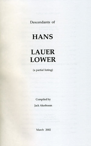 The Descendants of Hans Lauer/Lower - Jack Akerboom
