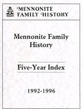 Mennonite Family History Five-Year Index, Years 1992-1996