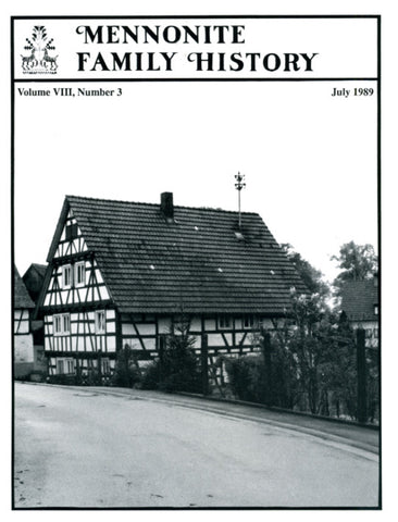 Mennonite Family History July 1989 - Masthof Press