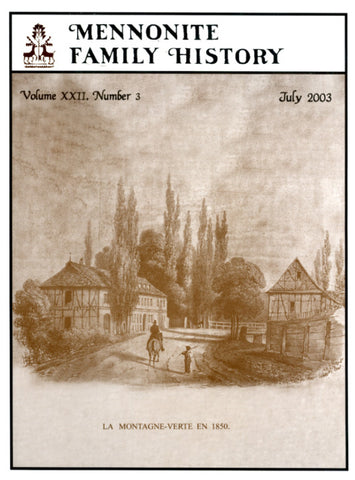 Mennonite Family History July 2003 - Masthof Press