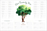 Six-Generation Genealogy Chart: Watercolor Tree