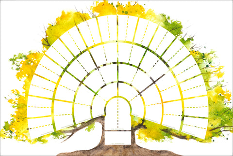 Six-Generation Watercolor Tree Genealogy Fan-Chart
