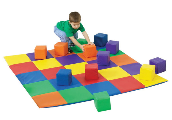 Children's Factory Patchwork Mat and 12 Pc. Block Set - Primary