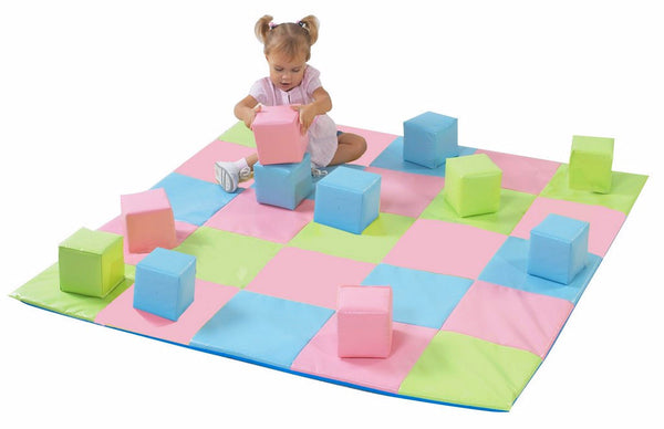 Children's Factory Patchwork Mat and 12 Pc. Block Set - Pastel