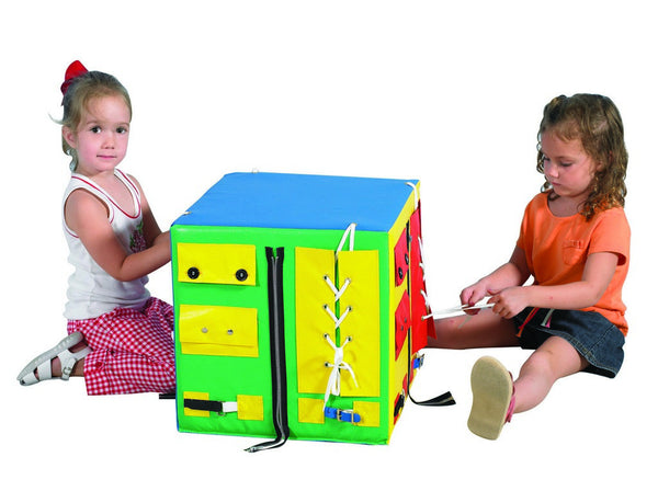 Developmental Play Cube,  zippers, lacing, buttons, bow ties, hook & loop