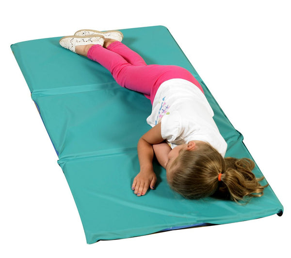 "1"" Infection Control® Folding Rest Mat - Teal/Blue 3 Sections, can be used in a variety of spaces and folds easily."