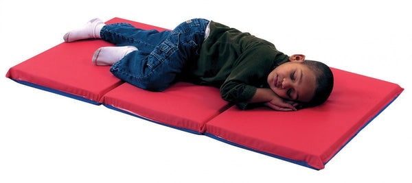 "2"" Infection Control® Folding Rest Mat - Red/Blue 3 Section"