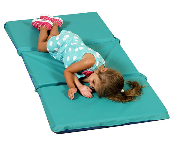 "Children's Factory 2"" Infection Control Folding Mat - Teal/Blue 3 Sections CF400-503TB"