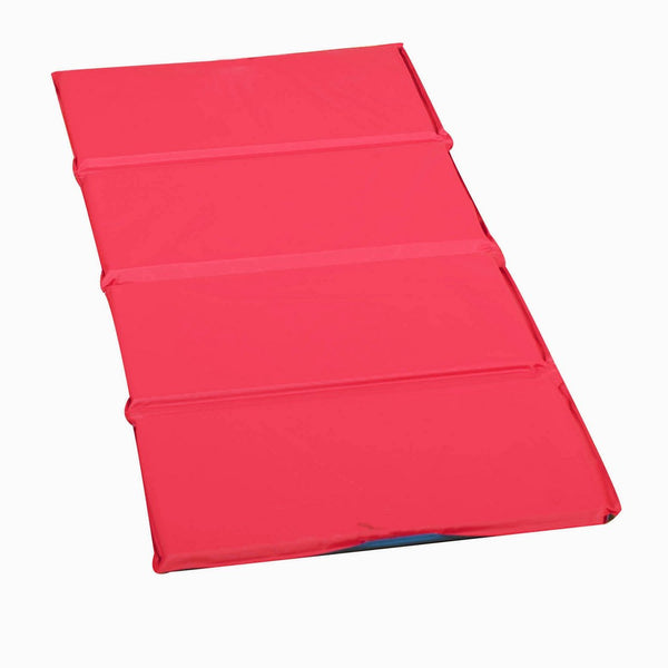 "1"" Infection Control® Folding Mat - Red/Blue 4 Sections, can be used in a variety of spaces and folds easily."