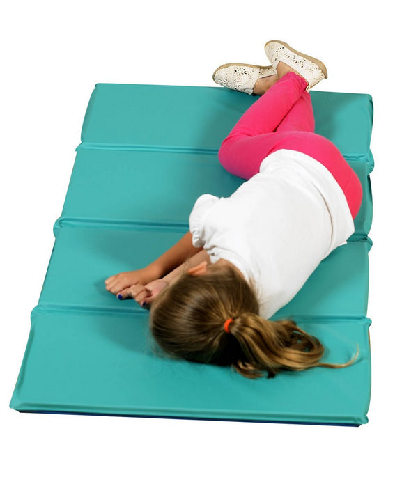 "Teal/Blue 4 Section, 1"" thick Infection Control Mat, can be used in a variety of spaces and folds easily."