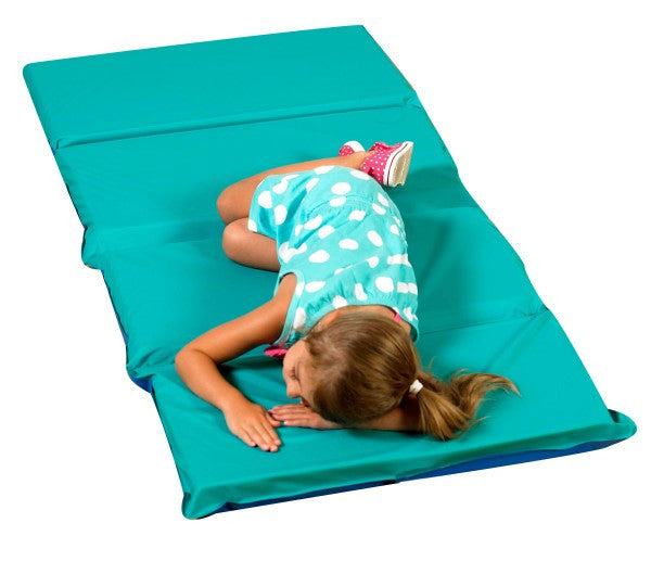 "2"" Infection Control® Folding Mat - Teal/Blue 4 Sections"