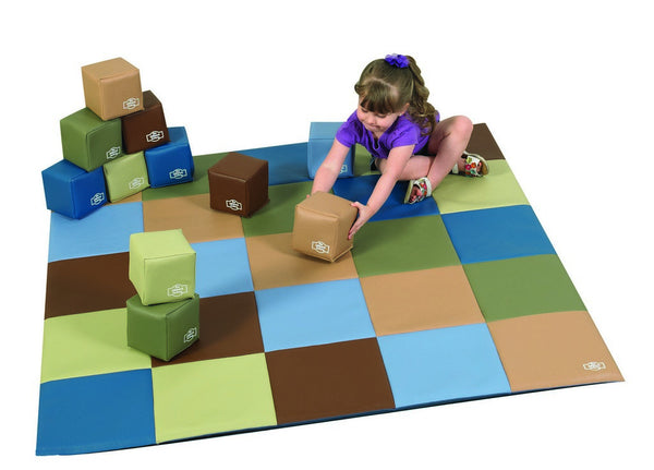 Children's Factory Patchwork Mat and 12 Pc. Block Set - Woodland