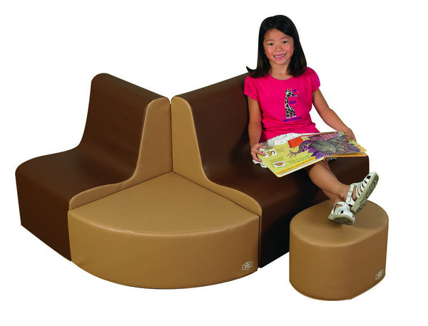 Children's Factory School Age Contour Seating - Walnut 4 Piece