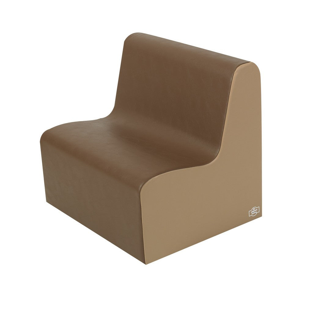 Children's Factory School Age Contour Love Seat - Walnut/Almond