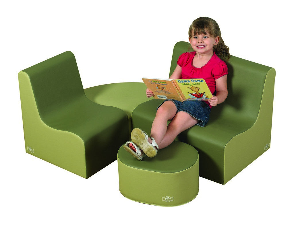 Children's Factory Medium Tot Contour Seating - Sage 4 Piece