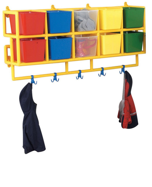 10 X-Size-Cubbie Coat Center, no sharp edges, corners, or splinters, wall hung,