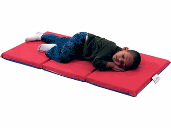 "Children's Factory 1"" Infection Control Folding Rest Mat - Red/Blue 3 Sections"