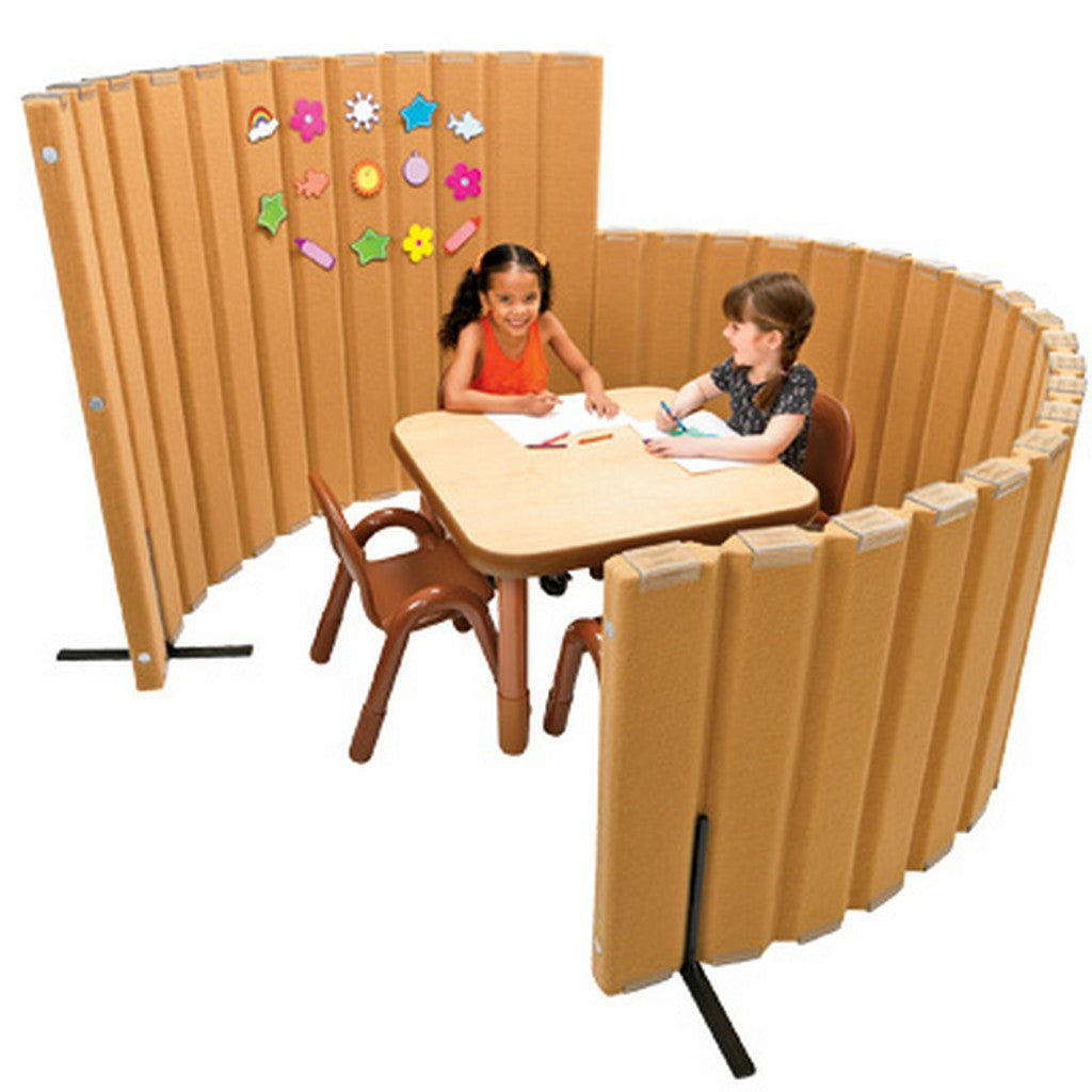 "Angeles  72""L X 48""H SoundSponge Quiet Dividers Wall with 2 Support Feet - Natural Tan"