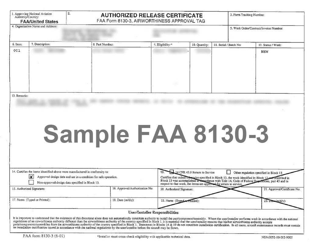 Optional FAA Form 8130-3 Airworthiness Approval Tag for FAA PMA Products