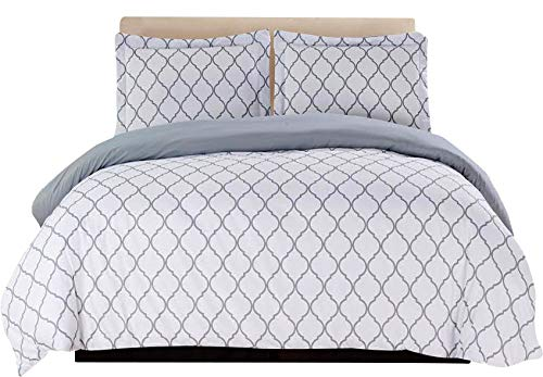 3-Piece Duvet Cover Set (White/Grey)