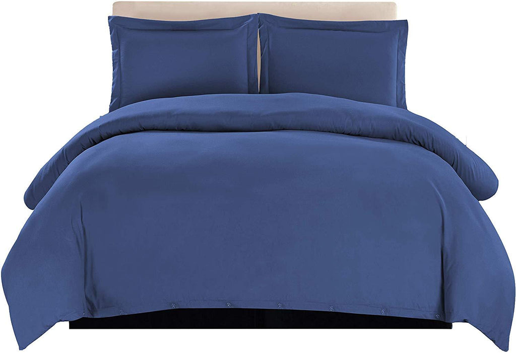 3-Piece Duvet Cover Set (Navy Blue)