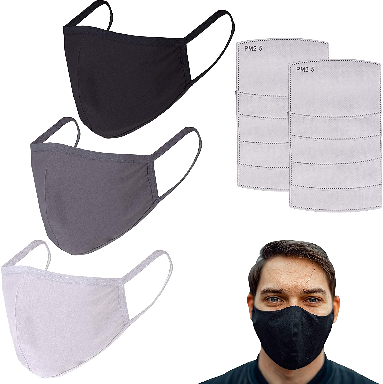 shopify-Pack of 3 Cotton Reusable Face Masks - 3 Masks with 10 Filters-1