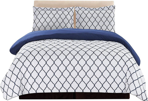 3-Piece Duvet Cover Set (White/Blue)