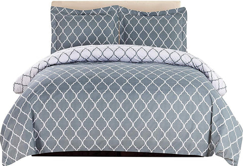 3-Piece Duvet Cover Set (Grey/White)